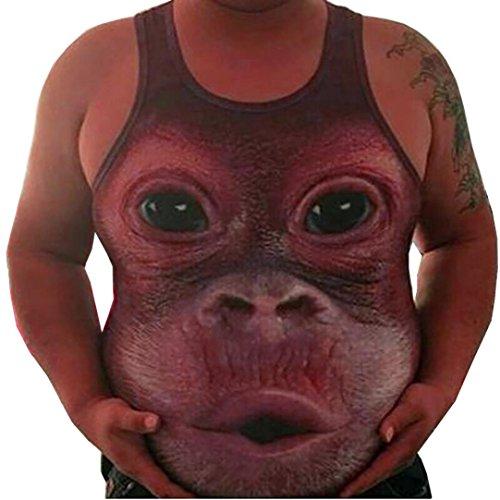 Malloom Männer plus Größe elastisches ärmelloses Korpulenzoberseiten-Behälter-Weste-Oansatz Bluse (dunkel rot, XXL)