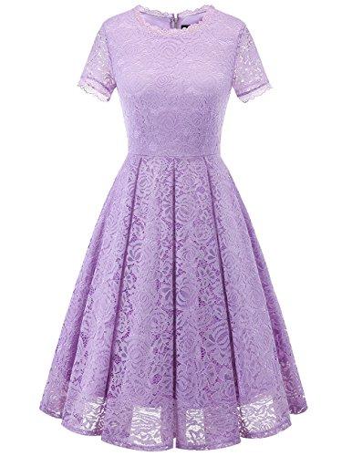 Dresstells Damen Sommerkleid Rundhals lang Kurzarm Festliches Elegant Cocktail Ballkleid Lavender L
