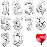 WeAreAwesome Folien-Ballon Luft-Ballon ZIFFER Zahl 6 Silber 60CM XL Aufpusten Geburtstag Hochzeit Party Feier