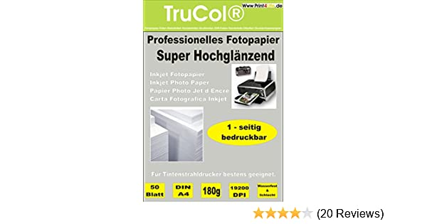 100 Bl Fotopapier A4 140g beidseitig super hochglänzend wasserfest lichtecht