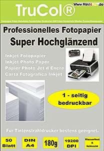 Premium Fotopapier 100 Blatt DIN A4 180g/qm Highglossy hochglänzend wasserfest für Tintenstrahldrucker
