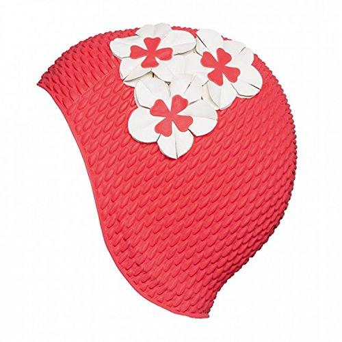 Fashy Damen Luftgefüllte Gummihaube mit Blumen Badehaube hellrot One Size