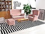 Elegantes Polstergarnitur Sofa Set 2er & Sessel & Hocker Wohnlandschaft 2-Sitzer Möbel Set -...