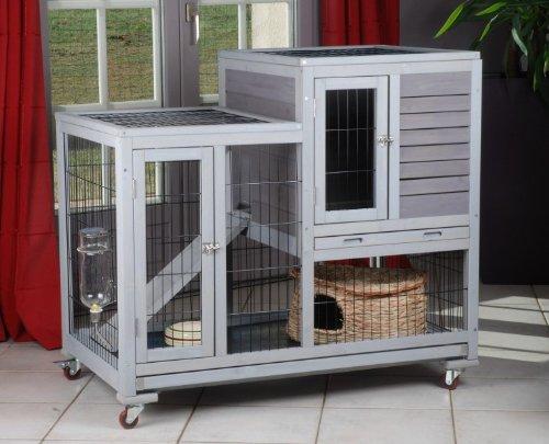 Animaloo - Cage Clapier RESTLAND Bois pour Lapin d'Intérieur