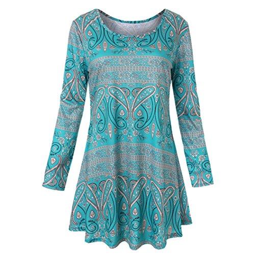 Trada Frauen Kleid, Damen Langarm O Neck Floral Tops Damen Sommer T-Shirt Bluse Vintage Lang Split...