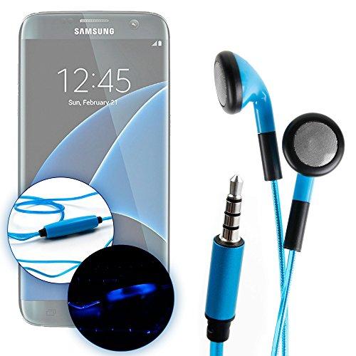 DURAGADGET Auricolari in-Ear LED Blu per Samsung Galaxy On NXT   On8   On7   S7 Edge   S7   J7   J5   J3   A9   A7   A5   A3 - Brilla nel Buoio al Ritmo della Musica