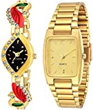 #10: Montres Fency Full Gold Metal Strap And Golden Designer Combo Watch -For Girls