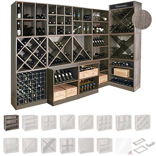 Weinregal / Flaschenregal System CAVEPRO, Regalmodul mit 2 ausziehbaren Fachböden, Holz Melamin...