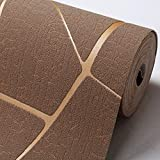 Papel pintado no tejido papel pintado a rayas geométrico fondo dormitorio sala de estar papel pintado de la pared de piel de ciervo marrón 168104
