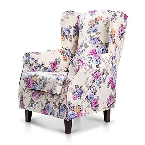 SuenosZzz- Sillones de Salon, butacas para Dormitorio Clasica. Sillón tapizado Floral Lila. Sillon orejero. Sillon.