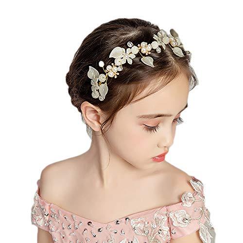 Haarkranz Kristall Perlen Blumen Haarschmuck Weiß Kommunion Kopfschmuck Hochzeit Mädchen und Damen Stirnband für Hochzeit, Leistung,Festival