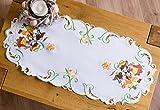 Platzdeckchen / Tischset, Oster-Design, bestickt mit Hasenmotiv, rechteckig mit abgerundeten Ecken, erhältlich in verschiedenen Größen, weiß, 40 x 85cm Oval