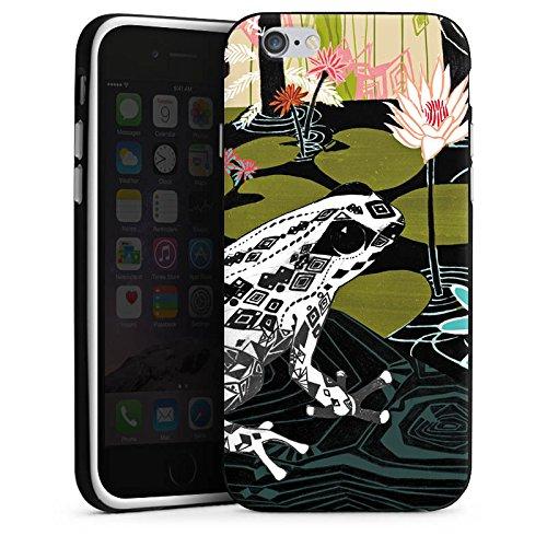 Apple iPhone 7 Hülle Case Handyhülle Frosch Seerose Blumen Silikon Case schwarz / weiß