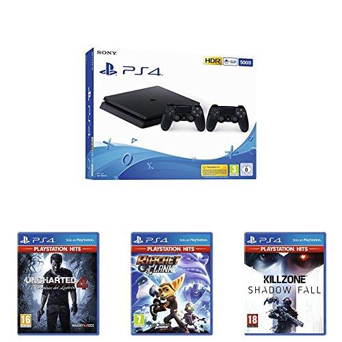 Playstation 4 (PS4) - Consola 500 Gb + 2 Mandos Dual Shock 4 (Edición Exclusiva Amazon) + Killzone: Shadow Fall Hits + Uncharted 4: El Desenlace Del Ladrón Hits + Ratchet & Clank Hits