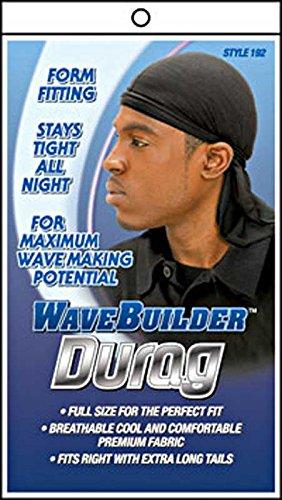 WAVE BUILDER Du-Rag with Extra Long Tails BLACK (Model: 192) by WaveBuilder