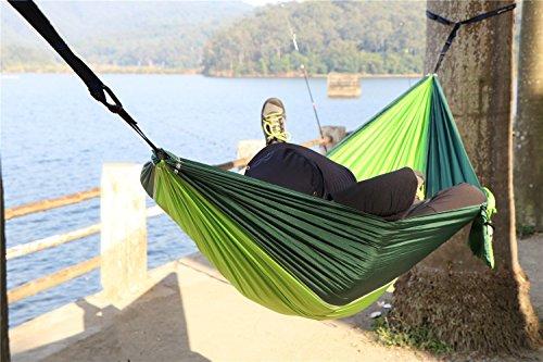 NatureFun Ultraleichte Camping Hängematte / 300kg Tragfähigkeit, (300 x 140 cm) Atmungsaktiv, schnell trocknende Fallschirm Nylon - 4