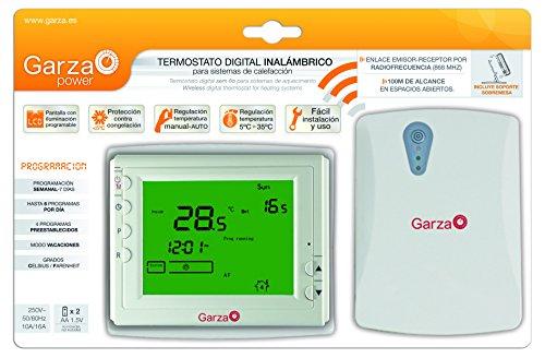 Garza Power - Cronotermostato Digital Inalámbrico Programable por Radiofrecuencia (RF), alcance 100 metros, programación 7 días, IP21