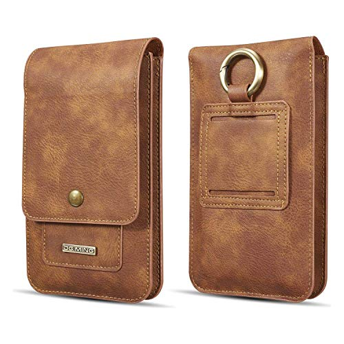 Universal Leather 6.5-inch Mobile Phone Case and Passport Wallet with Card Holder (Brown)