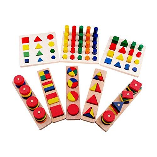 Bobury 8PCS Educational Spielzeug-Block Holz Teaching Tools Geometrieform Kind Sensing Learning Portfolio Kombination Set