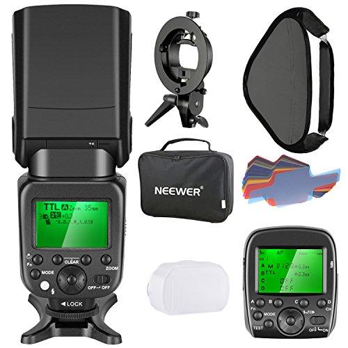 Neewer Speedlite 2.4G wireless 1/8000s HSS TTL Blitzgerät mit integriertem Funk-Auslöser für Sony Kamera, enthält: NW630 Flash, Flash Trigger, S-Typ Halterung, 16x16 Zoll Softbox, 20 Stück Farbfilter (Schuhe Blitz)