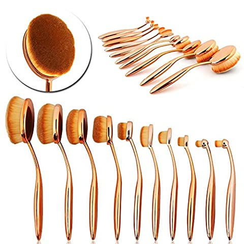 ttrwin® 10PCS Rose Gold Pro Oval Zahnbürste Make-up Pinsel Foundation Contour Powder Blush Concealer-Pinsel Makeup Kosmetik Werkzeug Set