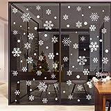 HAPPYLR New Year Christmas Ornaments Weiße Schneeflocken Glasfensteraufkleber Fensterläden Fensteraufkleber Wandaufkleber selbstklebend, Schneeflocken, groß