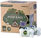 Sacchettini per pupù Pogi - 50 Rotoli (750 sacchettini) + 2 distributori - Grandi, biodegradabili, profumati, Sacchetti per bisogni dei Cani