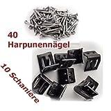 10 Schanieren inkl 40 Harpunennägel für Wellenfeder Schanierklammern Nosaq klammer