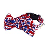 Noddy & Sweets Hundehalsband mit Fliege, handgefertigt [Union Jack]