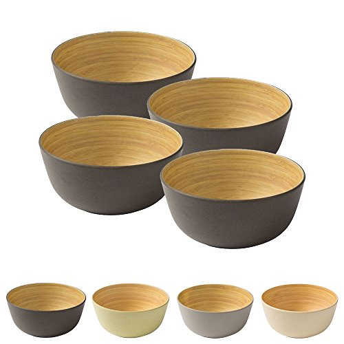 4 piezas Cuenco de bambú de primera calidad negro antracita a 450...