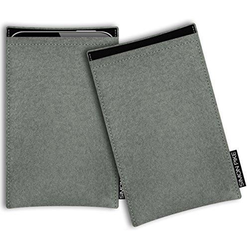 SIMON PIKE AppleiPhone 7 / 6 / 6S Filztasche Case Hülle 'Boston' in anthrazit1, passgenau maßgefertigte Filz Schutzhülle aus echtem Natur Wollfilz, dünne Tasche im schlanken Slim Fit Design für das iP elefantengrau Filz (Muster 1)