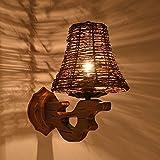 TLMY Amerikanisches ländliches Gartenholz Retro- kreatives Balkonkorridorflur-Nachttischlampen-Massivholz Die Lampe.