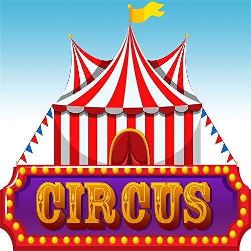 Cassisy 1,5x1,5m Vinyl Zirkus Fotohintergrund Circus Banner Rote weiße Streifen Zirkuszelte Flaggen Himmel Fotoleinwand Hintergrund für Fotoshooting Fotostudio Requisiten Party Kinder Photo Booth