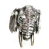 Epinki Plata de Ley 925 Punk Rock Vintage Gótico Elefante Anillo para Hombre Tamaño 13,5