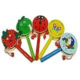 QHGstore Baby-Schüttel-Geklapper-Karikatur-hölzerne Hand-Bell-Trommel scherzt Musikinstrument-Spielzeug Zufällige Farbe