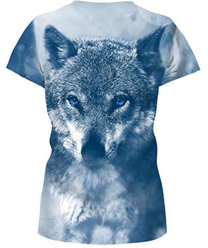 AMOMA Frauen Unisex Casual 3D-Printed T-Shirts Kurzarm-Oberseiten-T-Stücke SnowWolf