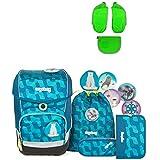 Ergobag Cubo EiszauBär Schulrucksack-Set 5tlg + Seitentaschen ZIP-Set Grün