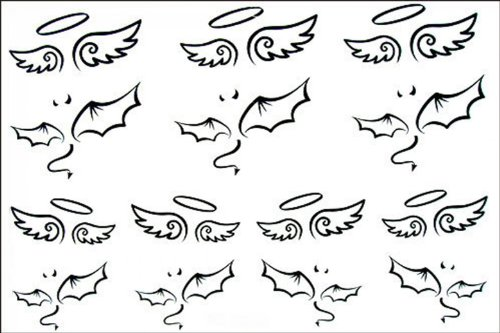 Temporäre Tattoos wasserdichte weibliche Modelle SPESTYLE wasserdicht ungiftig temporäre Tätowierung stickerslatest neue Design neue Release schwarzen und weißen Engel Flügel totem temporäre (Tatoo Engelsflügel)