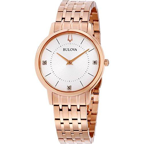 Bulova Women's 34mm Rose Gold-Tone Steel Bracelet & Case Quartz Watch 97P129