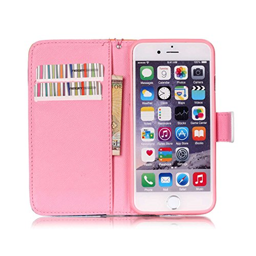iPhone 6/6S Hülle, Slim Retro PU Leder Bookstyle Hülle Tasche Flip Wallet Case mit Strap Portable Handytasche Anti-Scratch Shell Cash Pouch ID Card Slot Magnetverschluss Etui Soft Silikon für Apple iP Meer