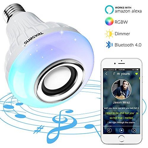 Texsens Bluetooth 4.0 LED Smart Lampe Farbwechsel Glühlampe Musik Glühbirne E27 6W Lautsprecher Birne Dimmbare RGB Licht mit Amazon Alexa Echo Fernbedienung für iOS und Android