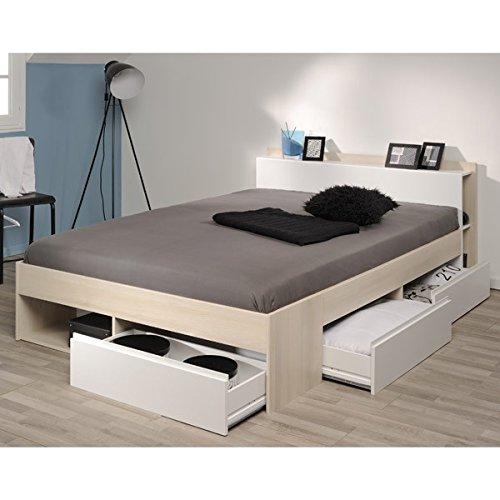 Funktionsbett 140*200 cm Akazie grau / weiß 3 Roll-Bettkästen Kinderbett Jugendbett Jugendliege Bettliege Bett Jugendzimmer Kinderzimmer