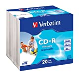Verbatim CD-R 52x 700MB Printable Surface Slim Case CD-Rohlinge 20er Pack