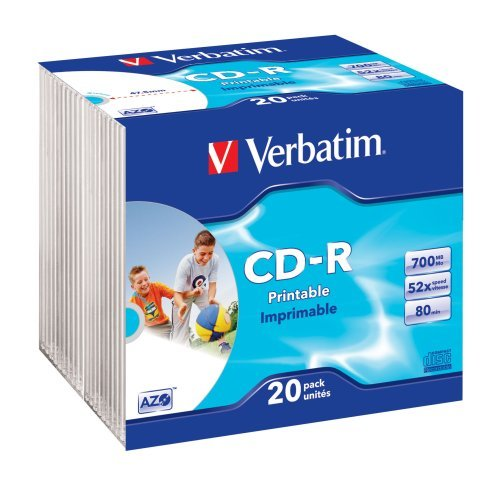 Verbatim CD-R 52x 700MB Printable Surface Slim Case CD-Rohlinge 20er Pack