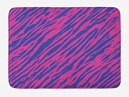 NasNew Doormats Pink Zebra Bath Mat, Retro Design Grunge Abstract Murky Zebra Stripes with Wavy 80s Style, Plush Bathroom Decor Mat with Non Slip Backing, 23.6 W X 15.7 W Inches, Cobalt Blue Fuchsia Cobalt Blue Jelly