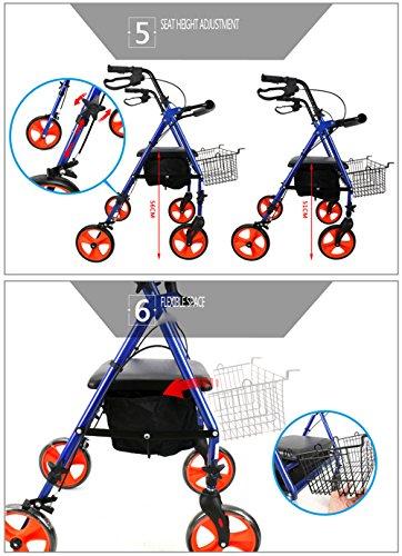 Rollator aus Edelstahl Blaufarben Walker klappbar Rollwagen 4 Räder Leichtgewichtrollator mit Sitzfläche und Korb