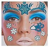 """Andrea Moden Glitzer Gesichts-Tattoo Set Klebetattoos - """"Eisprinzessin"""" - Ideales Accessoire zum Eiskönigin Schneekönigin Fantasy Mystic Kostüm Karneval Mottoparty Junggesellenabschied"""
