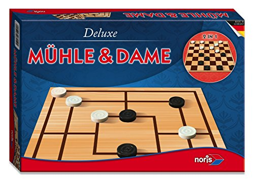 Noris 606108012 606108012-Deluxe-Mühle und Dame, Spieleklassiker - Mühlen