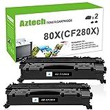 Aztech 2 Pack XXL Kompatibel für HP CF280X 80X (HP CF280A 80A) Toner HP Laserjet Pro 400 M401DN M401A M401DNE M401DW M401D MFP M425DN M425DW M401 Toner Schwarz Drucker Patrone