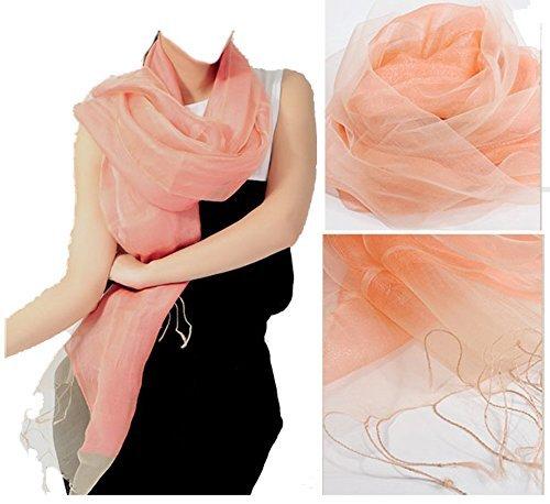 LadyMYP 200 65 cm luxe Double étole écharpe en Soie & Fil ou soie & Coton plus Couleurs Mandarine
